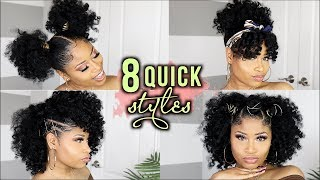8 QUICK STYLE IDEAS FOR CURLY GIRLS!! natural hair tutorial