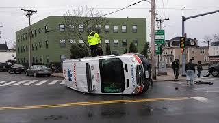 Ambulance flipped over in Haverhill Massachusetts