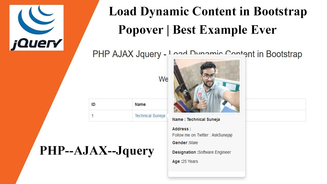 Load Dynamic Content in Bootstrap Popover - PHP--AJAX--Jquery | Best  Example Ever 🔥🔥
