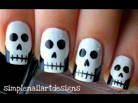 Halloween Skull Nail Art Tutorial - Halloween Skull Nail Art Tutorial - YouTube