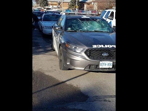 Toronto Police Arrest Crazy Woman Smashing Police Cars!!!!!! ( ORIGINAL Part 1)