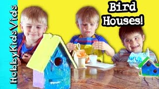 Paint Bird Houses On Rainy Day! Colorful Painting By Hobbykids + Hobbymema Helps