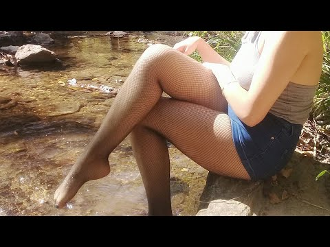 Abby In The Creek In Shorts And Black Fishnet Tights/Pantyhose