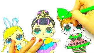 Раскраска куклы и сюрпирзы ЛОЛ, делаем новые наряды