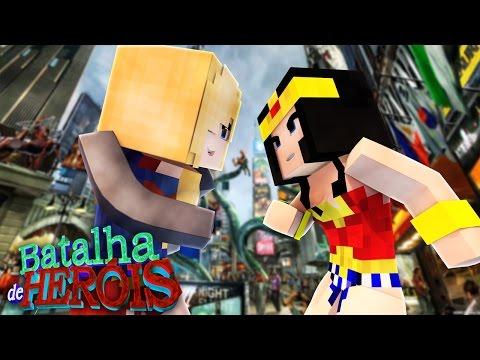 Minecraft : MULHER MARAVILHA vs SUPER GIRL - BATALHA DE HERÓI