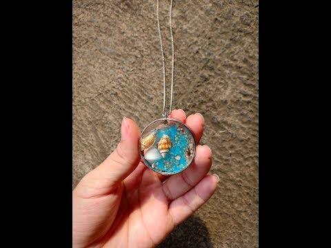 How to make necklace resin pendant with shell