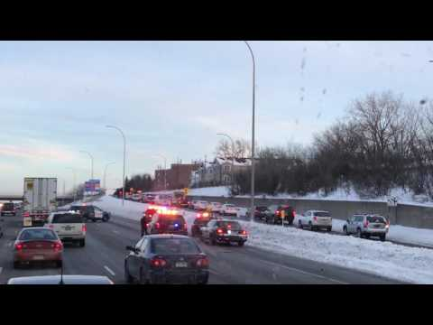End of a high speed chase I witnessed in St.Paul,MN a while back. K9 got him up the ramp.
