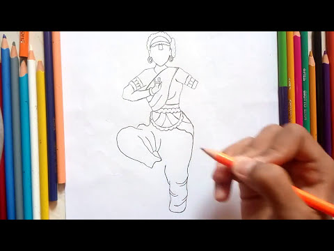 How To Draw A Classical Dancer L Bharatnatyam Dancer Drawing Youtube