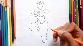 How to draw a classical dancer l Bharatnatyam dancer drawing