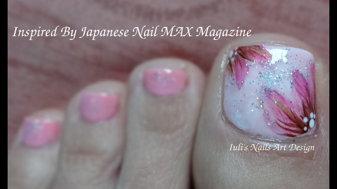 Nail MAX Magazine Inspired Toes Art Design Lovery Pink On Flowers Spring 2014