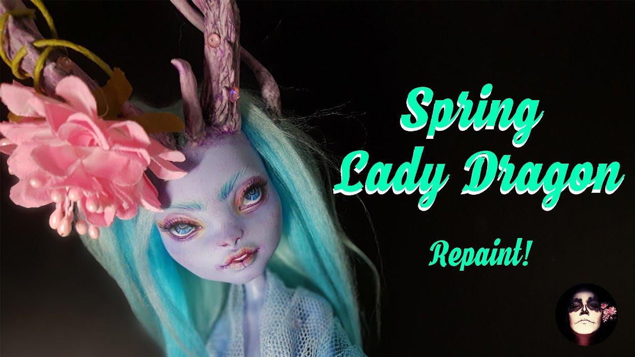 Repaint! Spring Lady Dragon OOAK Monster High doll