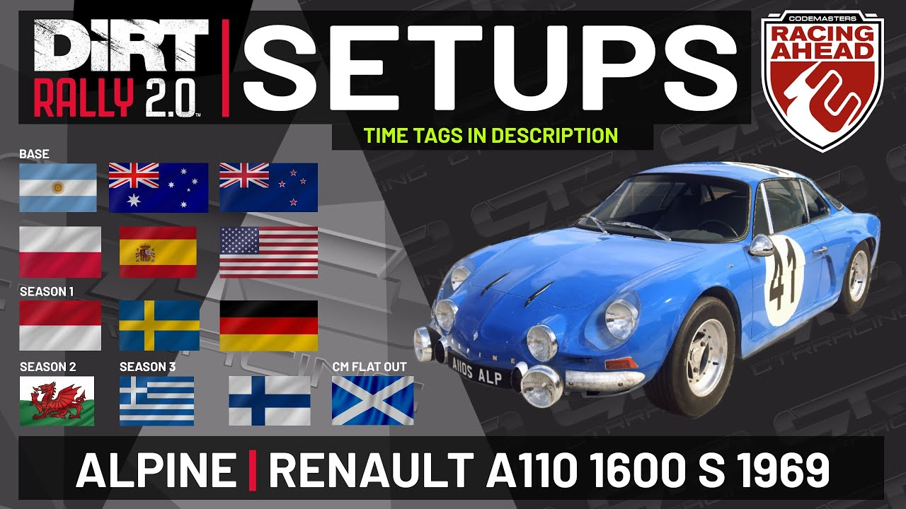 Alpine Renault A110 1600 S | SETUPS | 13 Locations | DiRT Rally 2.0