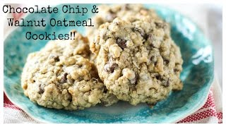 Chocolate Chip And Walnut Oatmeal Cookies - Cooking Video - Honest & Tasty