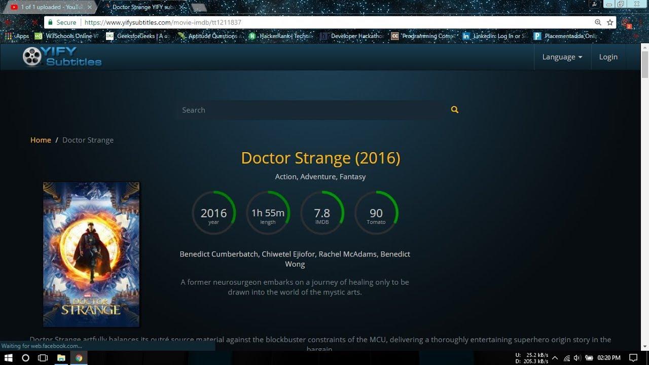 doctor strange hdrip subtitles download