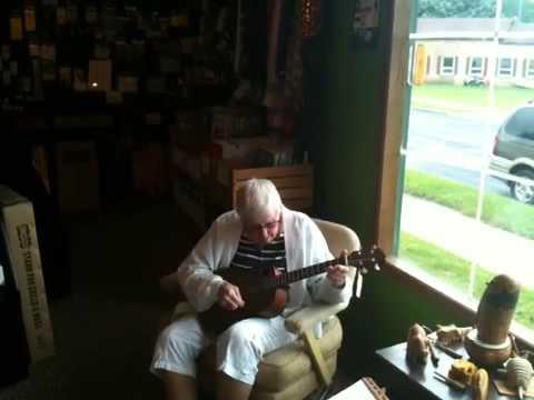 Cute Old Lady Plays Baritone Ukulele
