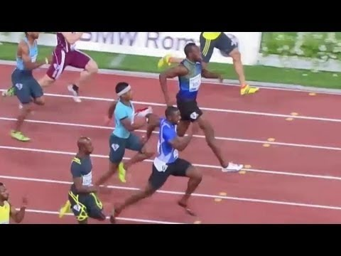 Justin Gatlin Beats Usain Bolt Diamonds 2013 Rome *Beats Record*