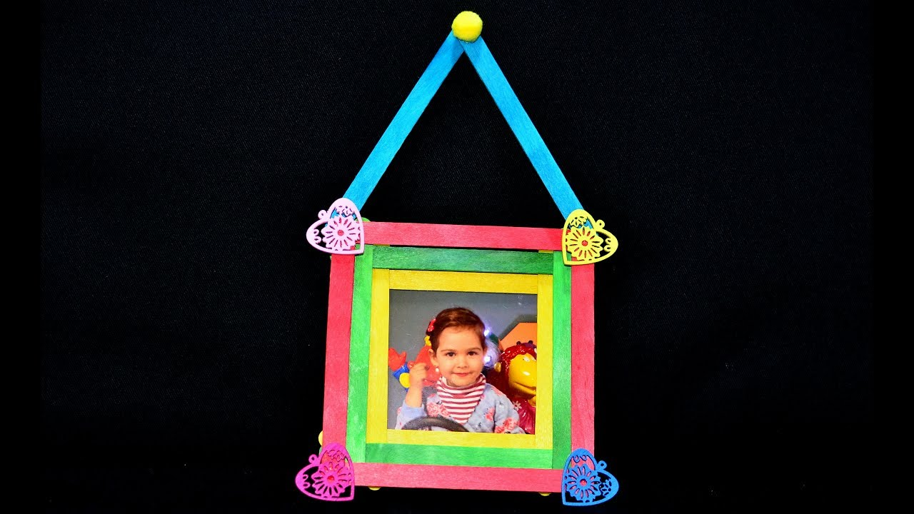 Photo Frame Art Craft Ice Cream Sticks Popsicle Diy Tutorial Maker