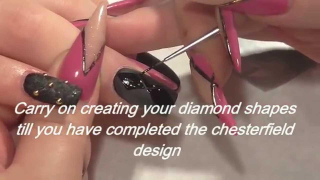 Chesterfield Effect Nail Art Design by Hazel Dixon - YouTube