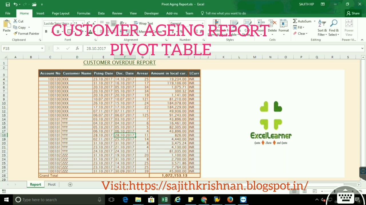 CUSTOMER/VENDOR AGEING REPORT USING PIVOT TABLE