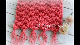How to Crochet a Warm Scarf with Puff Stitches, Crochet Video Tutorial | Big Crochet Patterns Sale