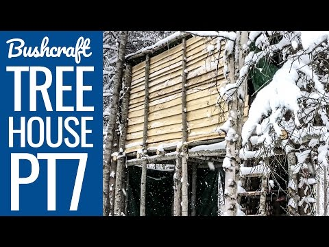 Bushcraft Tree house 7 - Snowy Winter Camping in Canada