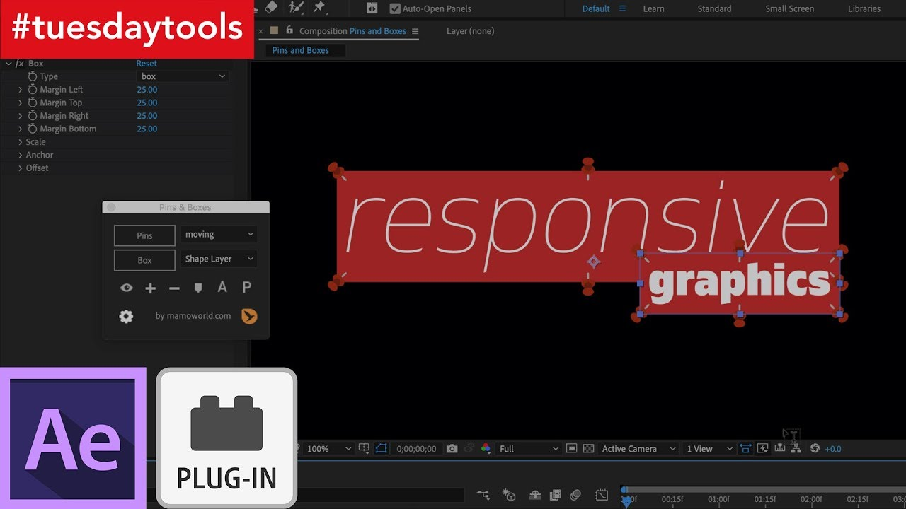 The Pins & Boxes Plugin for After Effects Simplifies Text Animation