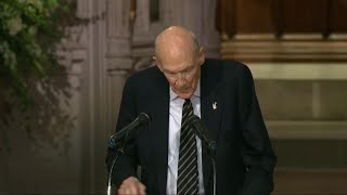 Former Wyoming Sen. Alan Simpson gives eulogy at Bush funeral