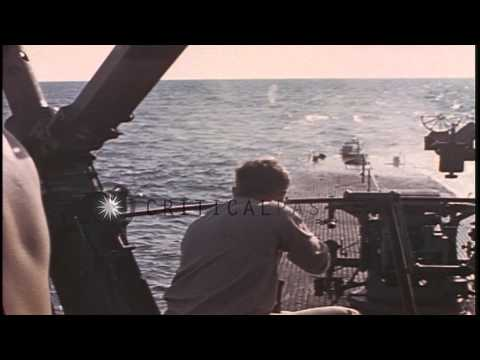 US Sailors Aboard USS Catfish Underway In The Pacific Ocean Fires Rifles And 50 C...HD Stock Footage