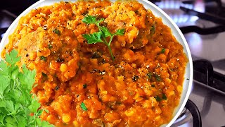 Easy Red Lentil Stew Recipe with Meatballs in Tomato Sauce