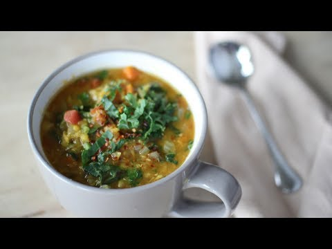 Spicy Red Lentil, Tomato & Kale Soup Vegan Plant Based Recipes