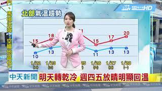 20190122中天新聞 【氣象】受到強烈大陸冷氣團影響 低溫特報