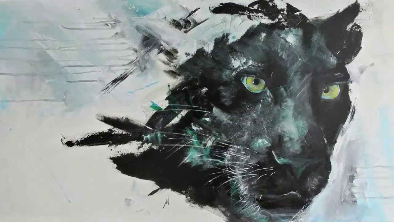 Csnvas Paintings Of A Panther Face