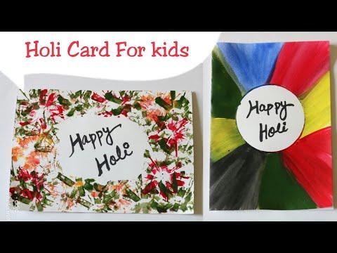 DIY 2 Easy Holi card ideas for kids/Holi crafts for kids/Simple painting card ideas/ sapnacreations