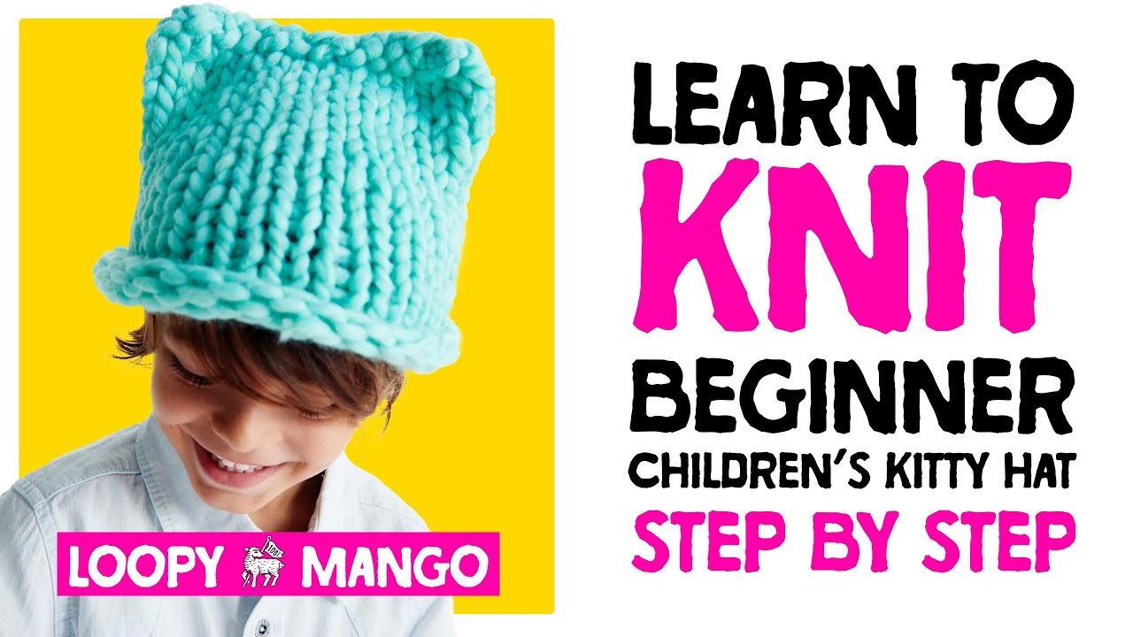 f06f0fa58690 Mini Kitty Hat - learn how to knit children s Kitty Hat - YouTube