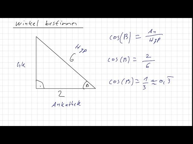 Winkel in einem rechtwinkligen Dreieck bestimmen