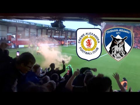 SCREAMERS AND PYROS!! CREWE ALEXANDRA VS OLDHAM ATHLETIC VLOG!!
