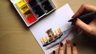 Drawing process. Postcard