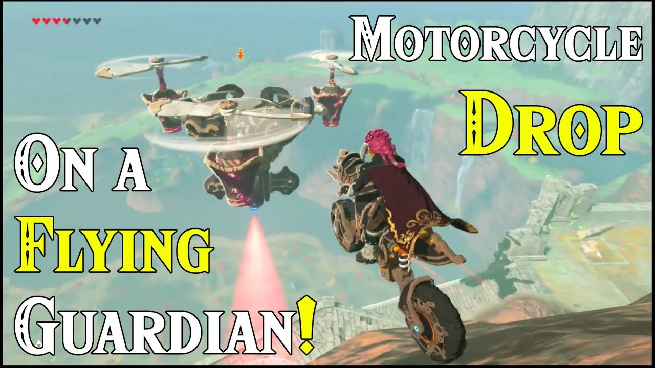 Zelda Breath Of The Wild Master Cycle: Motorcycle Drop On A Flying Guardian! Master Cycle Zero In