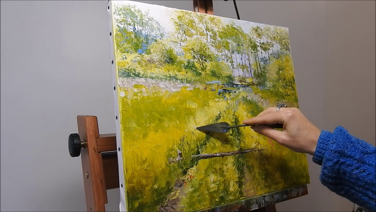 landscape oil knife painting, paysage huile