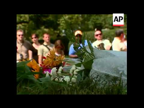 Senator Edward Kennedy's gravesite was completed Sunday. He was laid to rest a short distance from h
