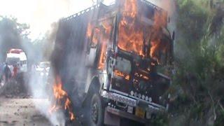 गौ तस्करी में शामिल ट्रक में लगा दी आग