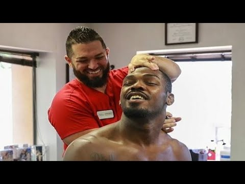 UFC Fighters get their spines adjusted. LOUD
