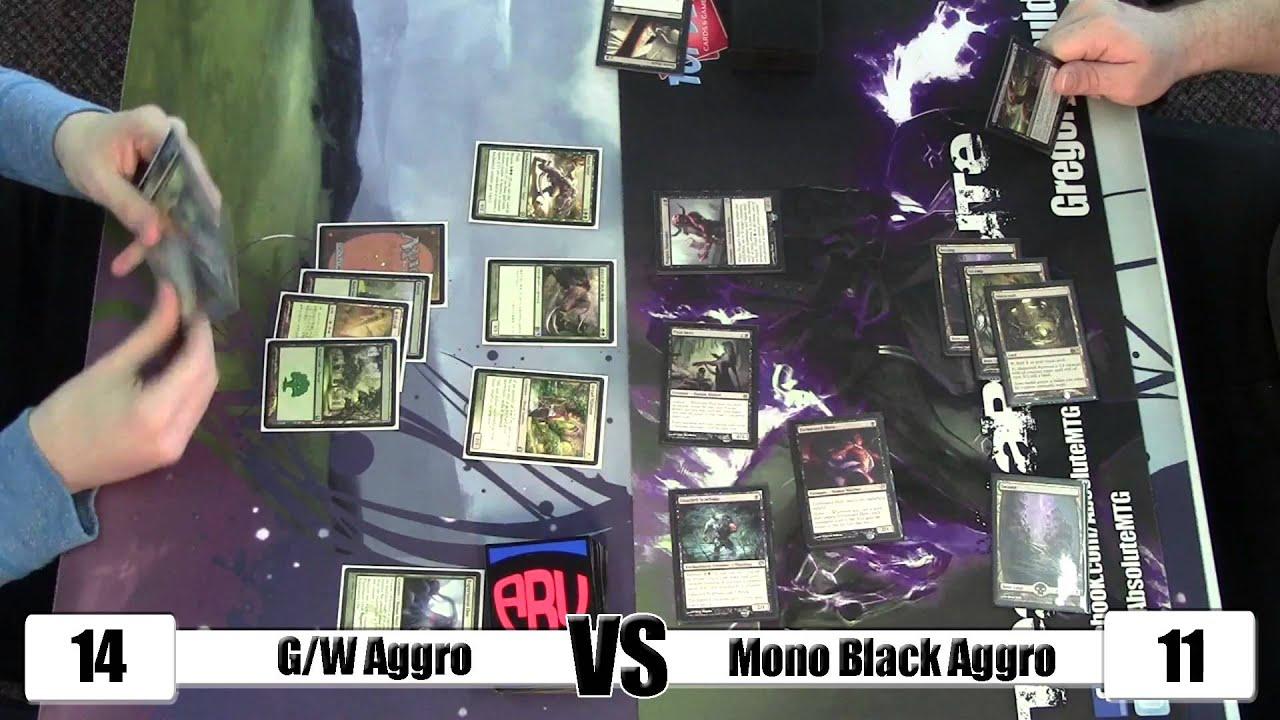 MTG - Standard Gameplay: G/W Aggro vs Mono Black Aggro w/ Sideboard ...