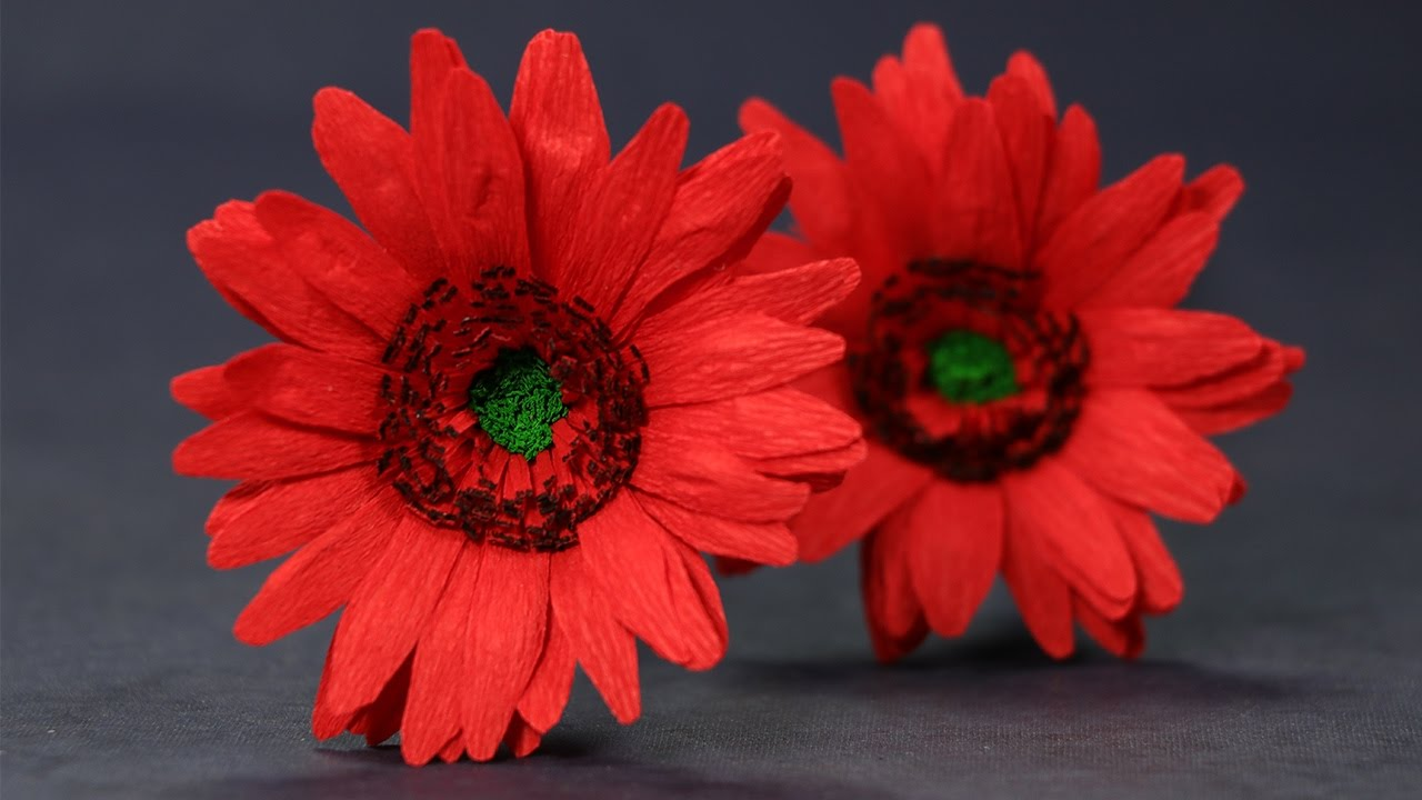 Paper Flowers Duplex Paper Gerbera Daisy Flower Craft Youtube