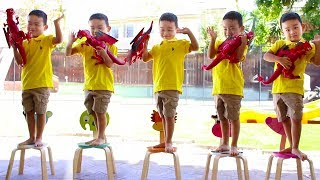 Five Little Boys Jumping on The Bed Nursery Rhyme Song