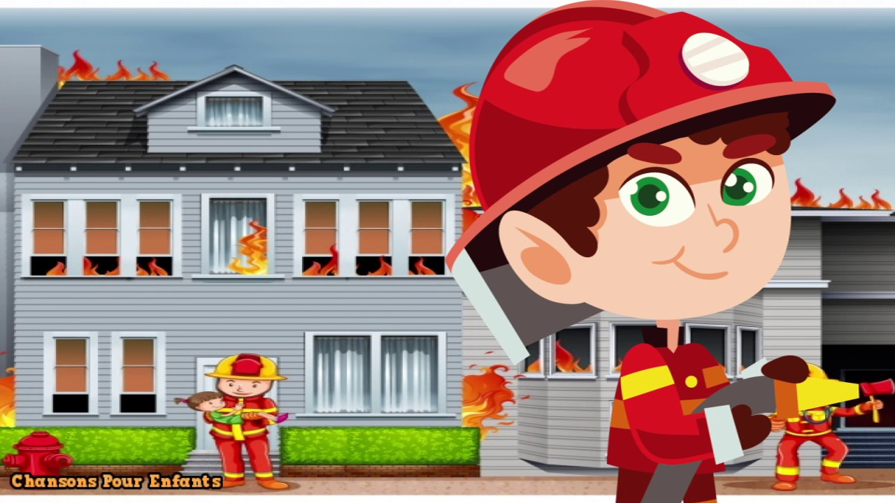 Au feu les pompiers la maison qui brûle comptines et chansons chansons pour enfants