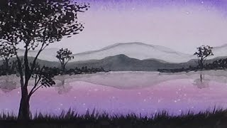 Watercolour Painting Rose Mountain Lake and Trees