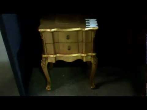 Bedside table in gold, french furniture