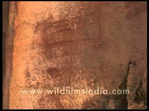 Caveman Art : Caveman art in bhimbetka rocks madhya pradesh youtube