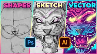 Tiger Illustration Process - Sket¢hing on Photoshop and Coloring on Adobe Illustrator CC - Speed Art
